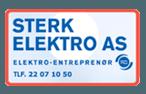 Logoen til Sterk Elektro AS, elektro-entreprenør, med telefonnummer.